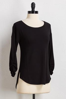 cinched sleeve knit top