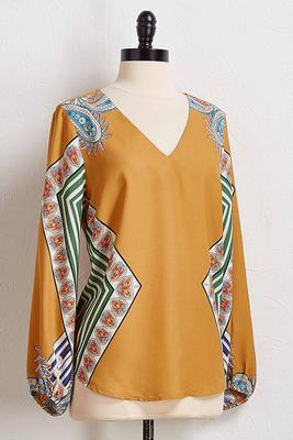 golden geo paisley top