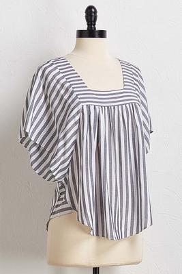 stripe square neck top