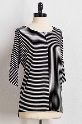 modern mixed stripe top