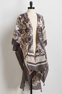 gray mixed print kimono