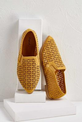 perforated faux suede flats