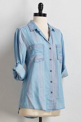 stripe chambray equipment shirt