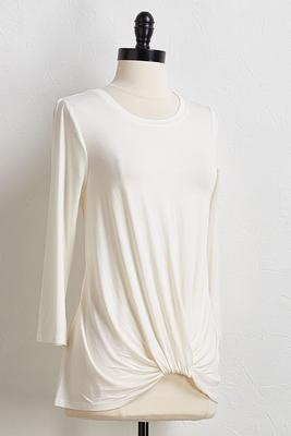 solid twisted hem top