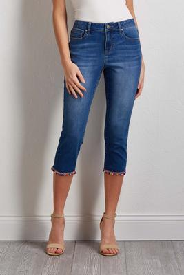 cropped pom-pom jeans