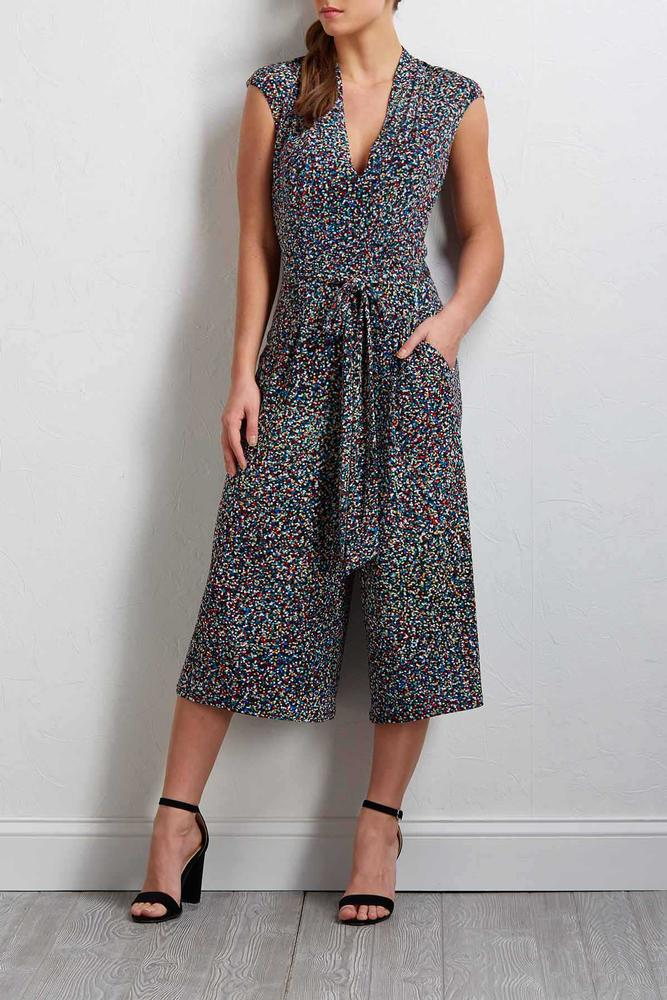 Cropped Multi Dot Jumpsuit