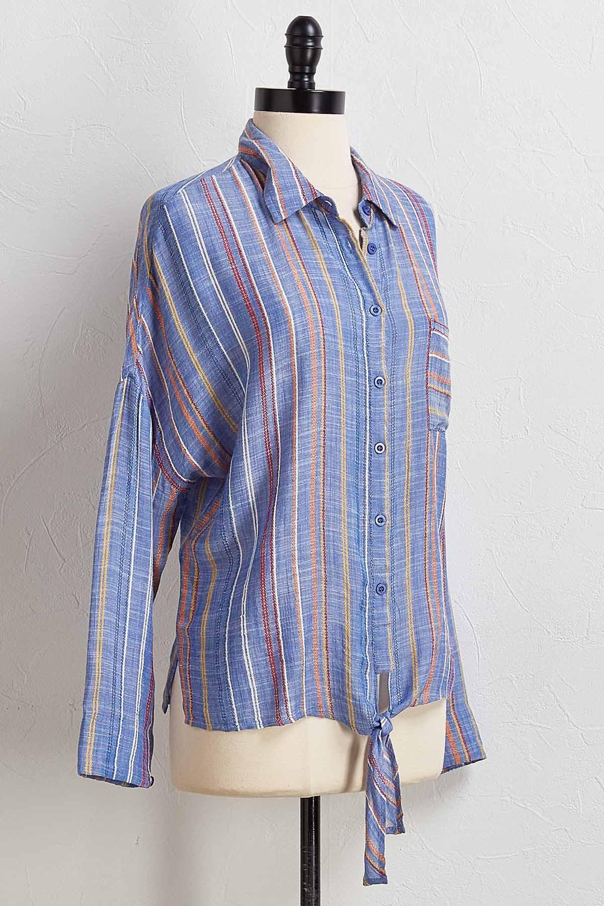 Rainbow Stripe Tie Front Shirt