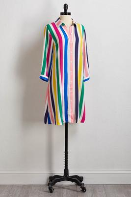 bright striped shirt dress