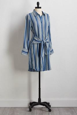 striped chambray shirt dress