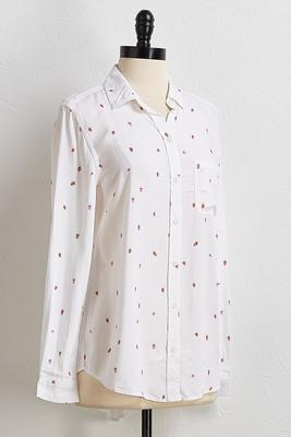 strawberry button front shirt