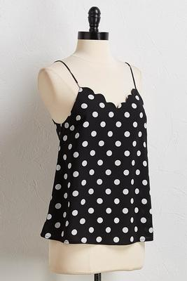 scalloped polka dot cami