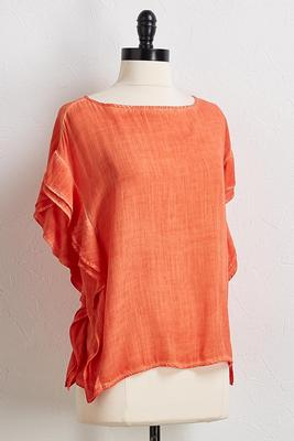 ruffled mineral wash top