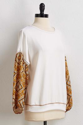 printed sleeve top