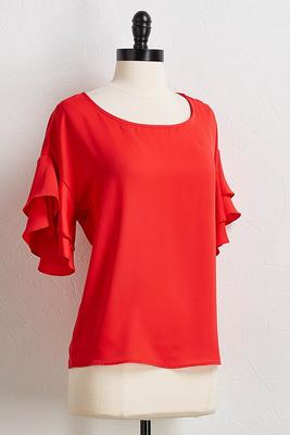 red tiered sleeve top