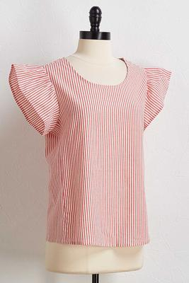 stripe ruffled top
