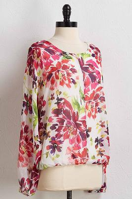 tropical multi floral top