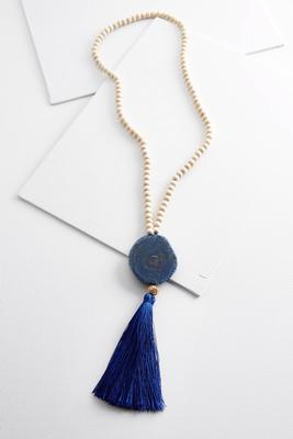 semi-precious tassel beaded necklace