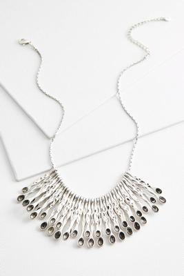 textured metal bib necklace