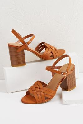 braided block heel sandals
