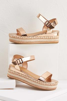 rose gold roped wedges