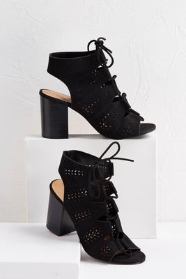 lace up block heel shooties