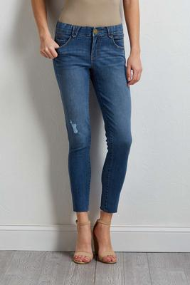 distressed raw hem ankle jeans