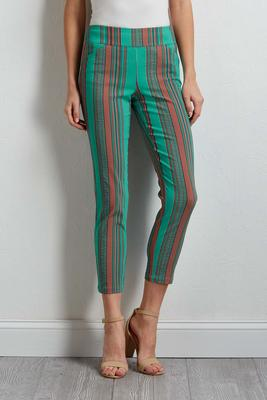 green stripe ankle pants