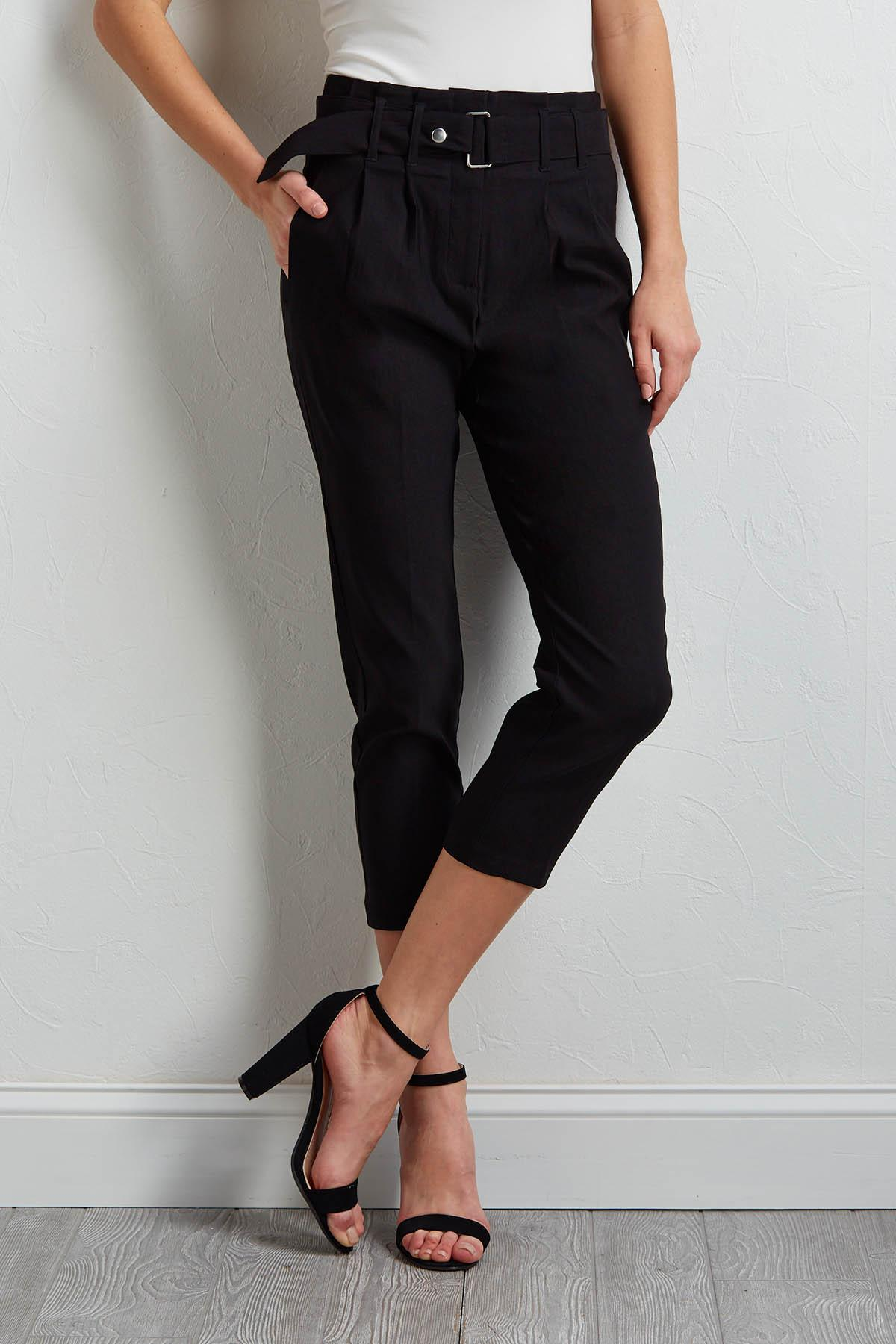 Cropped Belted Pants