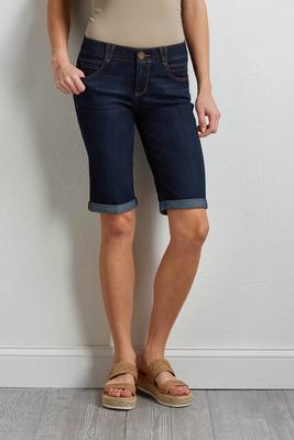 rolled bermuda jean shorts