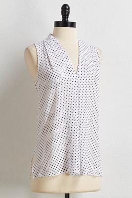 polka dotted inverted pleat tank