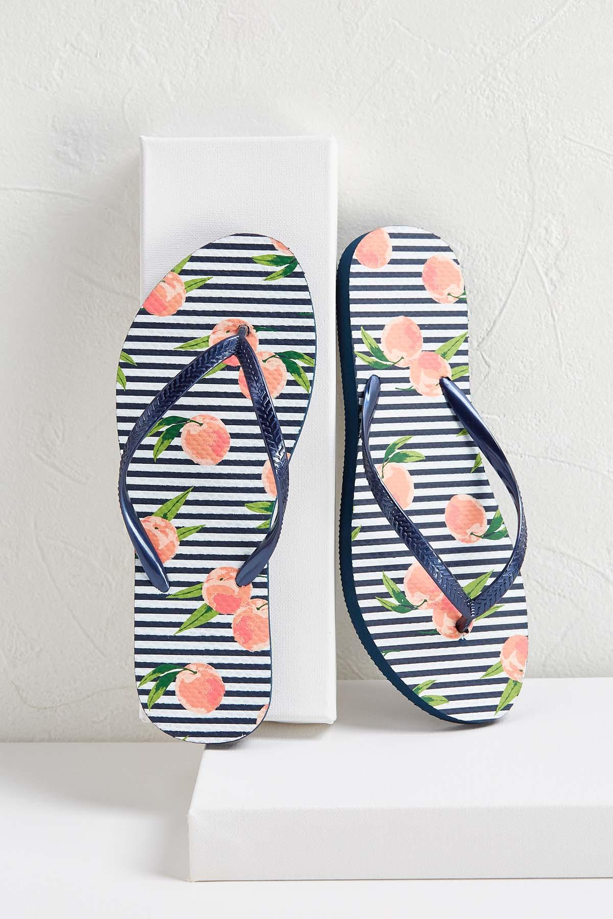 Peaches And Stripes Flip- Flops