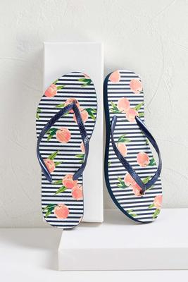 peaches and stripes flip-flops