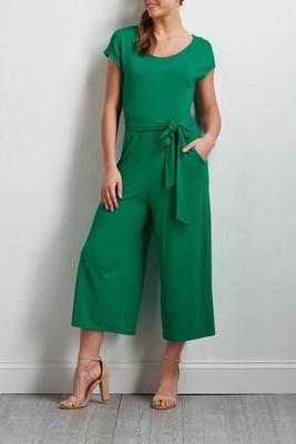 green tie front jumpsuit