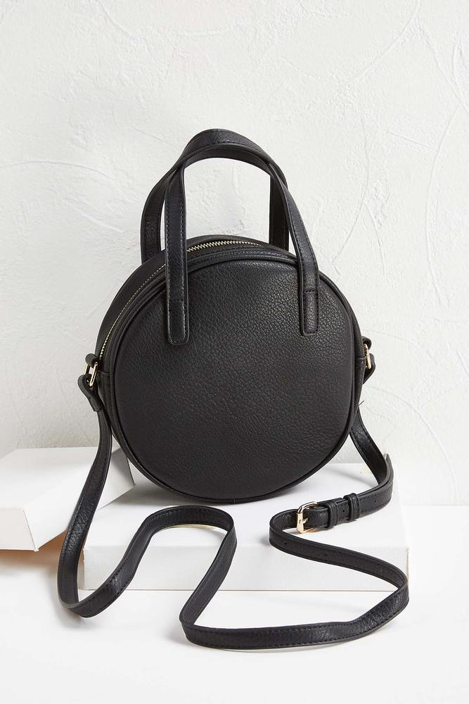 Faux Leather Round Crossbody Bag