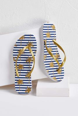 striped palm tree flip-flops