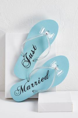just married bow flip-flops