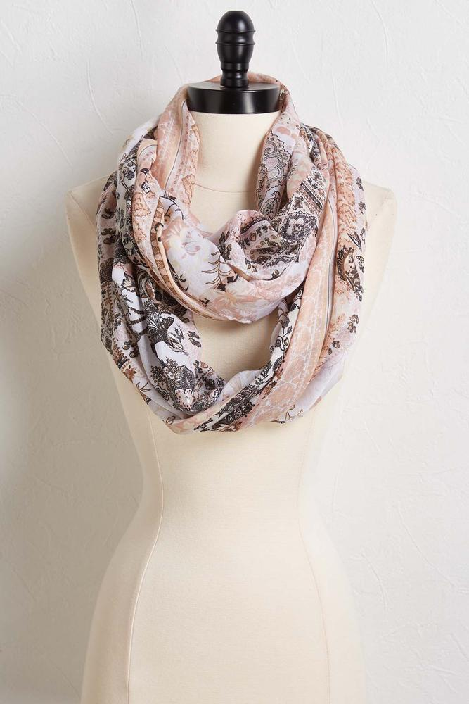 Floral Tile Infinity Scarf