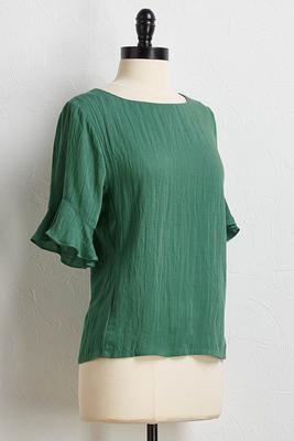 slub ruffled sleeve top