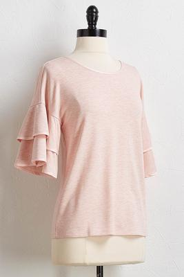 satin trim ruffled sleeve top