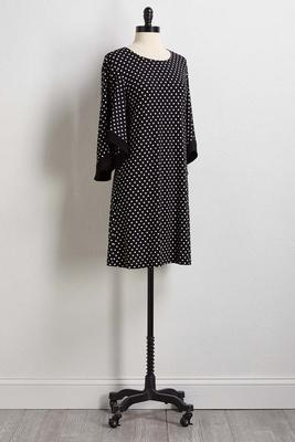 dotted bell sleeve shift dress