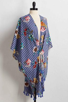 stripe floral cover-up