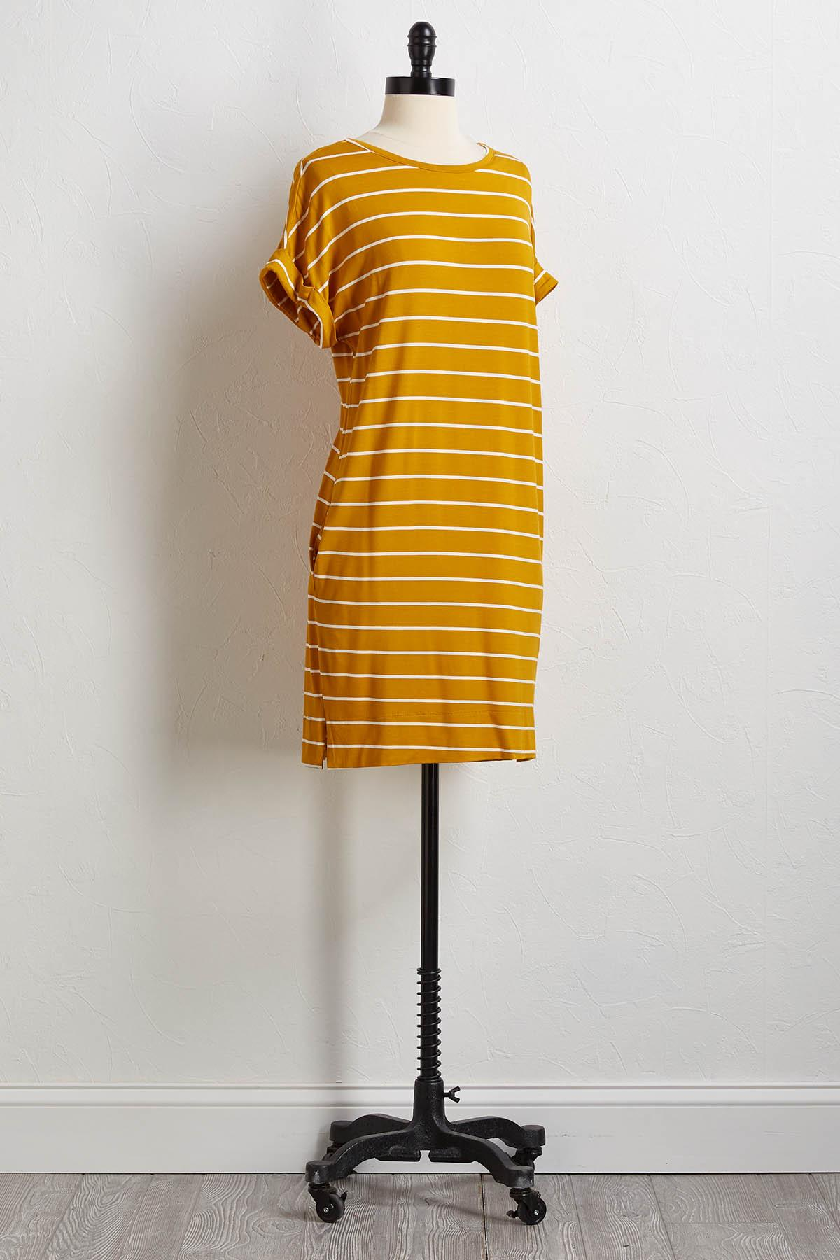 Gold Stripe Shirt Dress