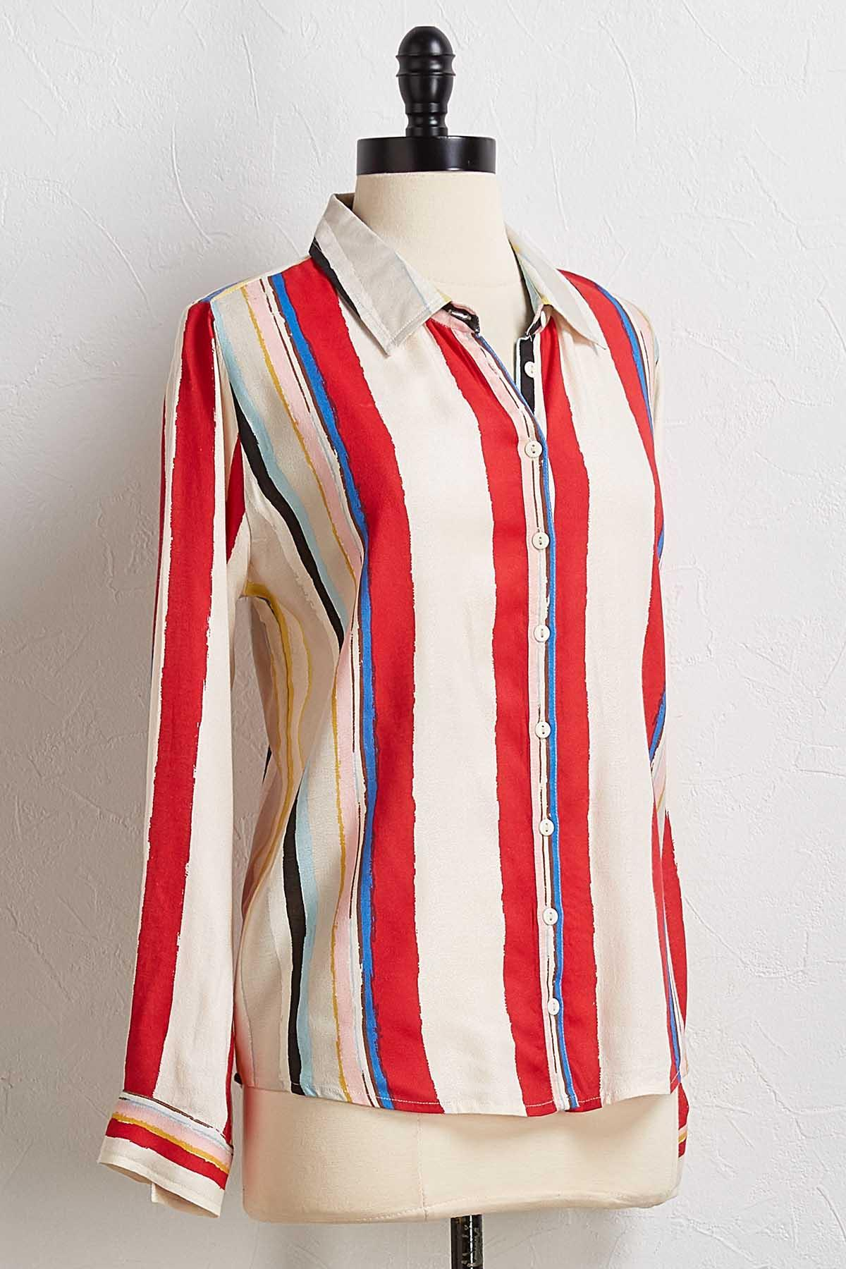 Painted Stripe Boyfriend Shirt