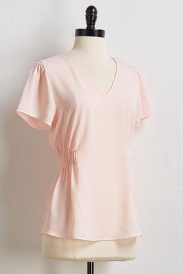 pink ruched waist top