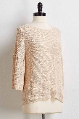 textured flutter sleeve sweater