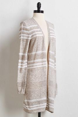 pointelle stripe cardigan