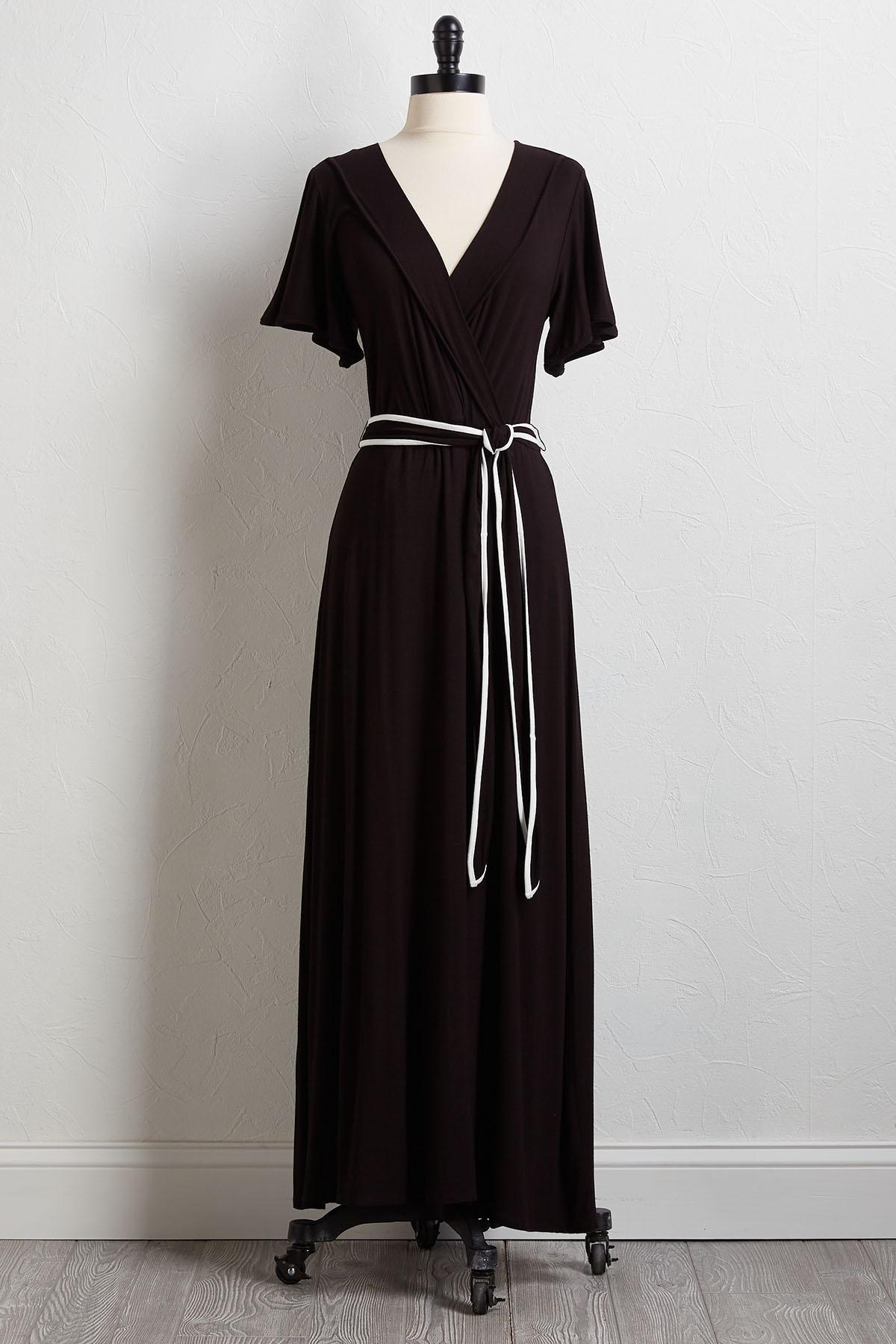 Piped Tie Waist Maxi Dress