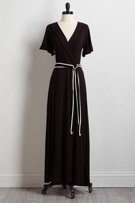 piped tie waist maxi dress