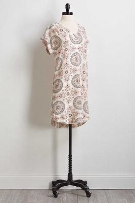 floral medallion shift dress