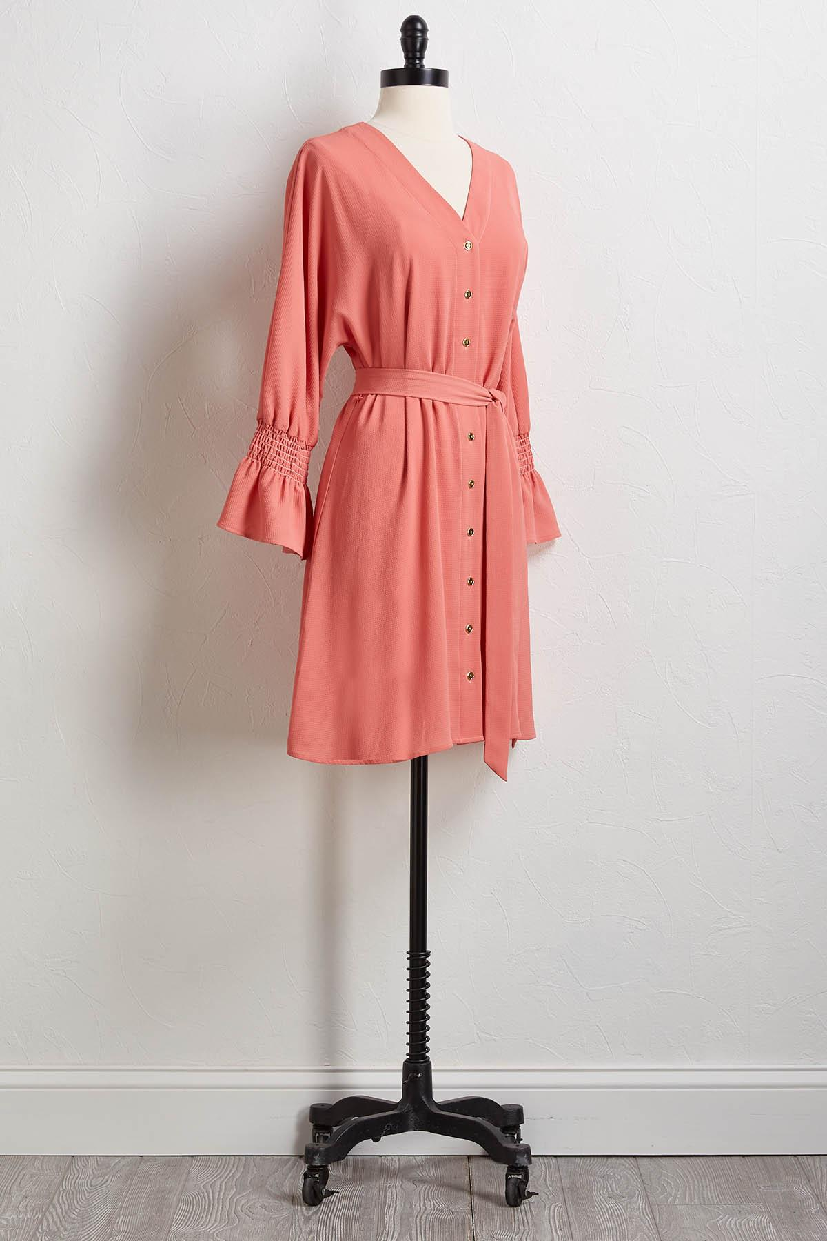 Crepe Tie Waist Shirt Dress
